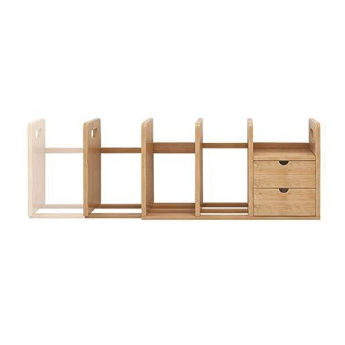 Planken XUERUI Desktop Boekenkast Bamboe Uitschuifbare Desktop Opslag Plank Met 2 Laden Voor Bureau Interieur Decoratie Boek-Maken Opslageenheid