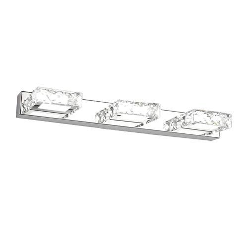 Klighten LED Spiegelleuchte 46CM Schminklicht Badleuchte IP44 Modern Kristall mit 3 lights Quadrat für Badzimmer Kaltes Weiß 5500K
