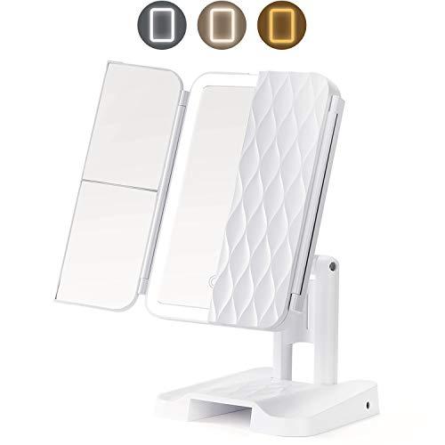 Kosmetikspiegel mit LED Licht und 1x/2x/3x-Vergrößerungsspiegel,3 Farbmodi 72 LED 3-Faltbarer Beleuchtete Schminkspiegel,180°Drehbarer Tragbar Make Up Spiegel Touchschalter für Dimmbare Heilligkeit