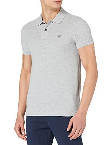 Photo of GANT Men's Original Slim Pique SS Rugger Polo Shirt, Grey Melange, XS