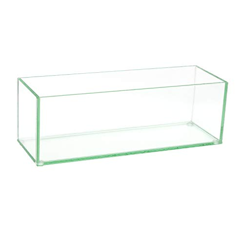 """Flower Glass Vase Decorative Centerpiece for Home or Wedding by Royal Imports - Oblong Rectangle Shape, 12"""" Long, 4"""" Hx4 W Opening, Clear"""