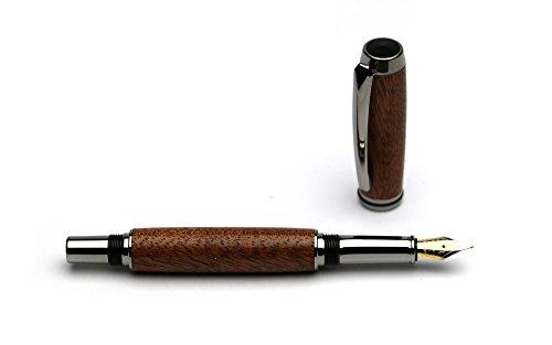 Handgedrechselter Füller - aus Mahagoni Holz mit verchromten Metallteilen, jedes ein Unikat Einzelstück, edel, ein schönes Geschenk für Büro und Anlässe, mit Etui, hergestellt in Deutschland