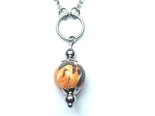 Gargantilla para mujer en acero inoxidable con anillos y perlas de Jade tintadas en...