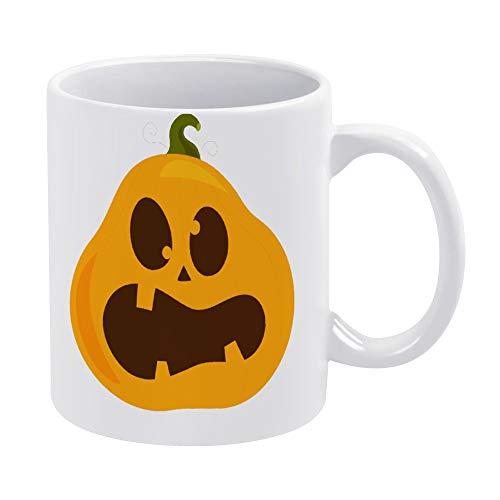 Taza de café de cerámica con cara de monstruo de calabaza para niños, divertida, divertida y divertida taza de té, taza de té blanca de 11 onzas, regalo de cumpleaños de Navidad para hombres y mujeres