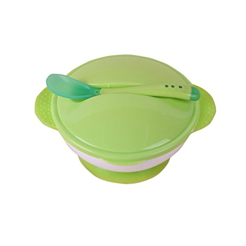 BESTONZON Baby Saugschale mit Löffel rutschfeste Verteidigung Herbst Babyschale Anzug Infant Trainingsschale Set (grün)