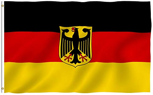 Anley Fly Breeze 3x5 Foot German State Ensign Flag - Vivid Color and Fade Proof - Canvas Header and Double Stitched - Germany Eagle Flags Polyester with Brass Grommets 3 X 5 Ft