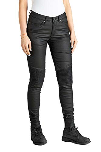 Pando Moto Kusari Black Waxed Women's Kevar Motorcycle Jeans CE Approved Skini Fit Motorbike Trousers Ladies