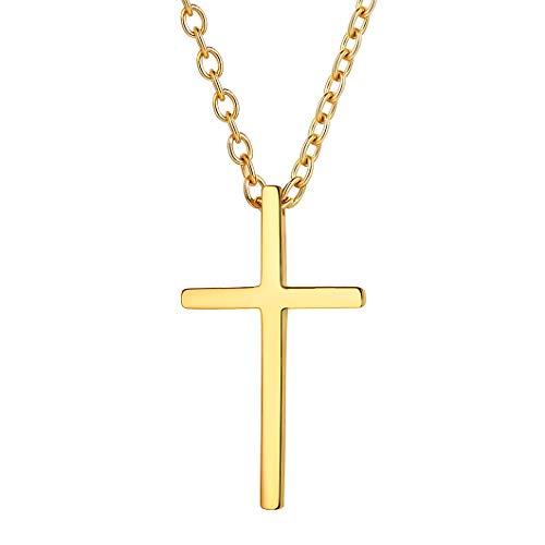 Richsteel Color Oro Cruz Cadenas Mujer Hombre Collar con Cruz Mediana Acero Inoxidable de Oro bañado