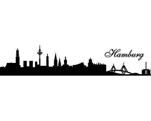 Samunshi® Wandtattoo Hamburg Skyline 30x6cm schwarz