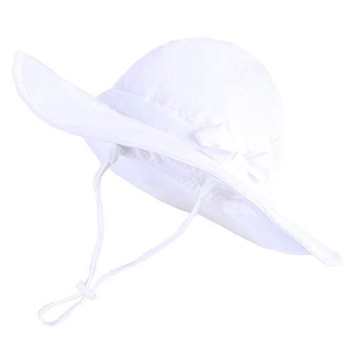 Profuroad - Sombrero para niños, color liso, visera para mujer, chica, pescador, pesca, camping, moda al aire libre, sombreado solar, sombrero de viaje, gorra de pesca, color blanco, 48 cm, color blanco, tamaño 54 cm