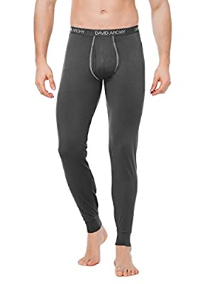 DAVID ARCHY Men's 2 Pack Thermal Underwear Pants Ultra Soft Brushed Thermal Bottoms Long Johns Quick Dry Base Layer Leggings (M, Black/Dark Gray)