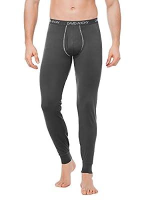 DAVID ARCHY Men's 2 Pack Thermal Underwear Pants Ultra Soft Brushed Thermal Bottoms Long Johns Quick Dry Base Layer Leggings (XL, Black/Dark Gray)