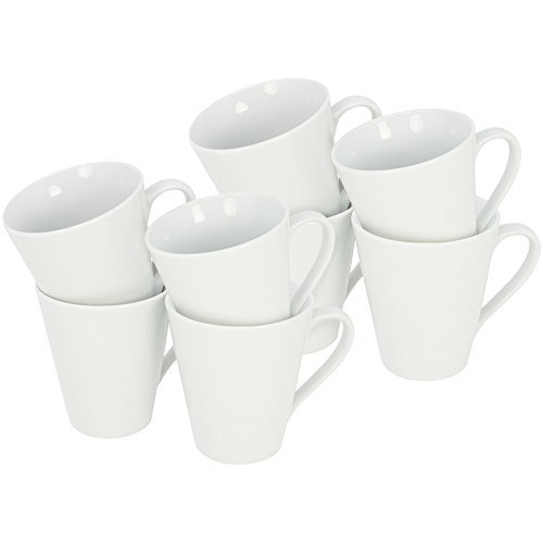 com-four® 8x Kaffeebecher aus Porzellan - Kaffee-Tasse im zeitlosen Design - Kaffeepott für Tee und Glühwein - 250 ml je Tasse