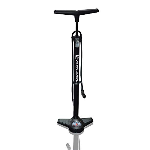 VeloChampion Pro High Pressure Cycling Floor/Track Pump With Pressure Gauge – Fits Presta & Schrader With 200 PSI / 13.8 Bar Max Pressure – Premium Quality, Durable And Quick & Easy To Use (Black)