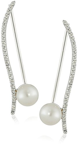 Honora Sterling Silver Freshwater Cultured Pearl and White Topaz Ear Climbers Earrings