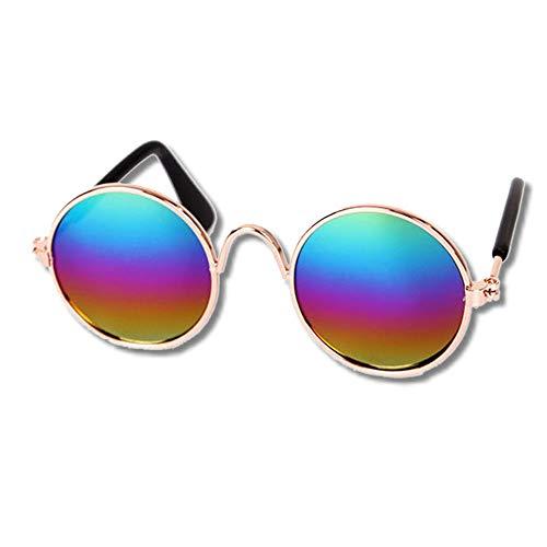 EROSPA® Sonnenbrille Hunde Welpen Katze - Metallrahmen Bronze - Gläser Verspiegelt Multicolor - 8 cm