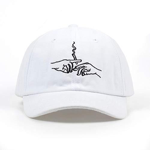 WAZHX Smoke Baseball Cap Papa Hut Für Männer Frauen Stickerei Hände Rauchmuster Trucker Cap Weed Bone Golf Baseball Hut Weiß