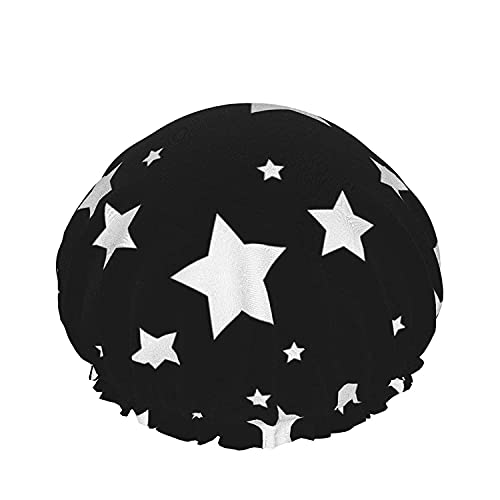 Double Layers Shower Cap,White Star Design On Black Background,Reusable Waterproof Elastic Bath Caps for All Hair Lengths