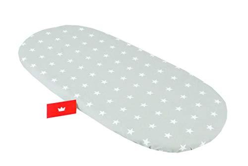 BABYLUX Spannbettlaken für Kinderwagen Stubenwagen Baby Spannbetttuch Wiege Stuben Bettlaken (91. Sterne Grau)