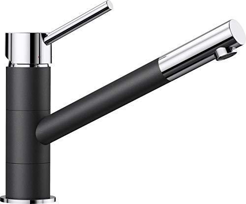 BLANCO KANO - Zweifarbiger Einhebelmischer für die Küche - mit 360° Rund-um-Schwenkbereich - Chrom / Grau - 525028