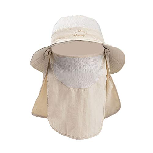 Outdoor Summer Sun Hat, Fashion UV Protection Wide Brim Bucket Hat for Women Men Neck Face Hiking Traveling, Beige, One Size