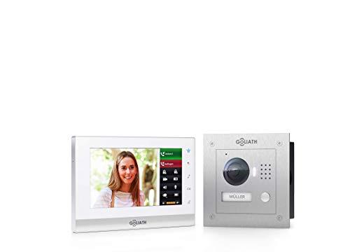 Goliath IP Video-Türsprechanlage mit Kamera, Unterputz HD Türstation 150°, Edelstahl, App mit Türöffner Funktion, 7 Zoll Touchscreen, 32GB Video-Speicher, 1 Familienhaus Set