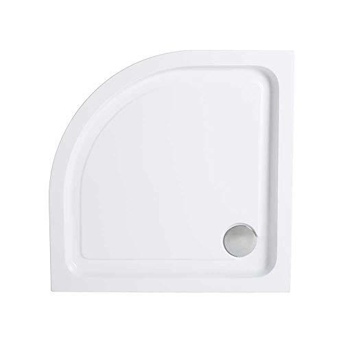 Plato de ducha para esquina 90cm semicircular antideslizante - Incluye sifón y válvula de desagüe