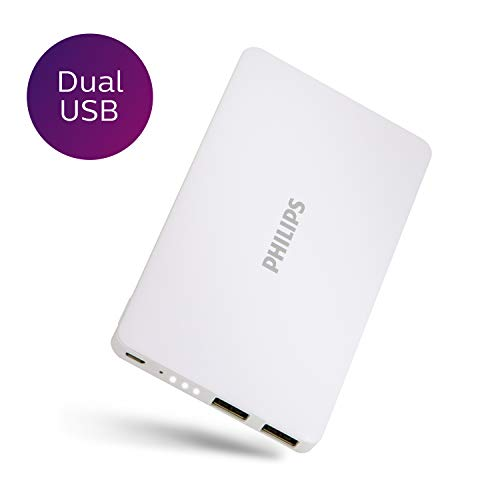 PHILIPS 10000mAh Dual USB Portable Charger, Battery Pack, Ultra Thin, 2 USB A Ports, Multi-Device, Sleek White Finish, High Speed Battery Bank, White, DLP2103/37