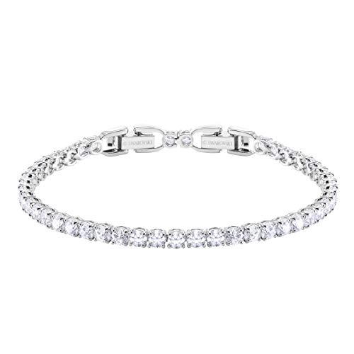 Swarovski Women's Tennis Deluxe Bracelet, Brilliant White Crystals with Rhodium Plating
