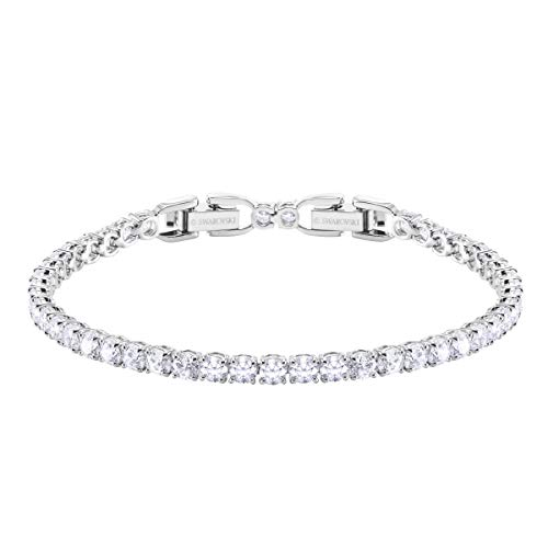 SWAROVSKI Women's Deluxe Tennis Bracelet Rhodium Finish Rose Cut Stone, White Crystal