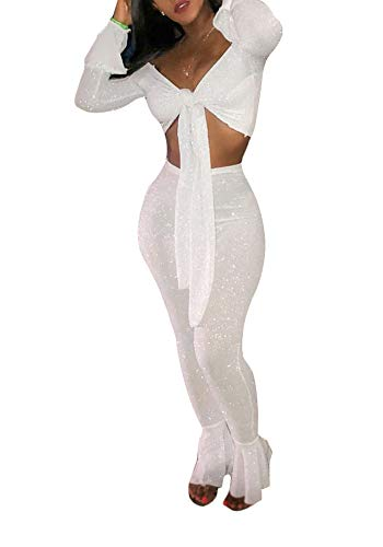 Ophestin Women Off Shoulder Glitter See Through Long Flare Sleeve V Neck Crop Top Pants Set 2 Piece Outfits Jumpsuits White S