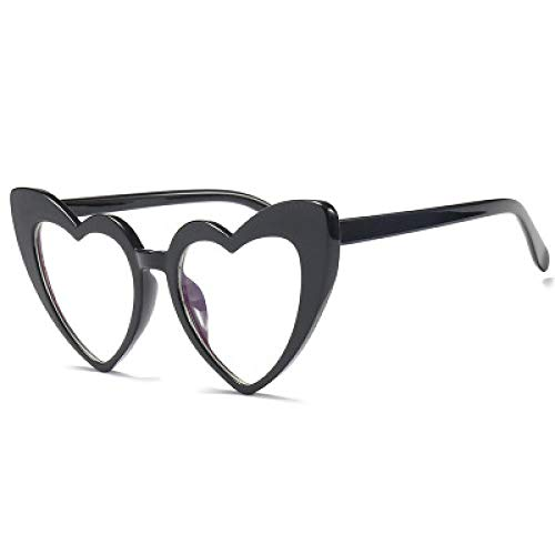 FRGTHYJ Occhiali da Vista a Forma di Cuore Occhiali da Sole Cat Eye Occhiali da Viaggio all'aperto Occhiali da Vista Dolci da Donna Occhiali da Uomo Neri