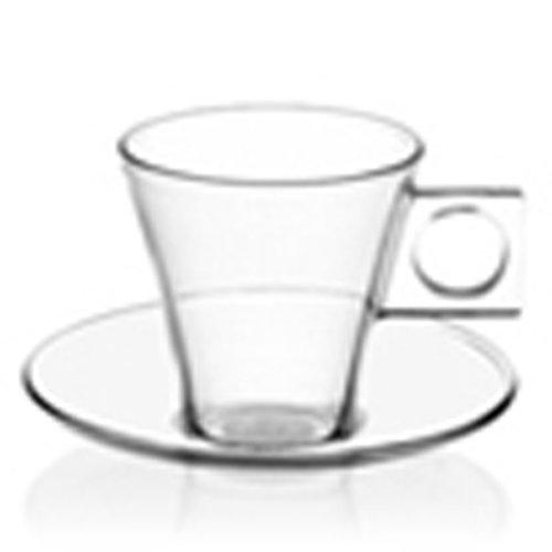 Nescafé Dolce Gusto Espresso Glas, Tasse, Kaffeetasse mit Untertasse, 2er Pack