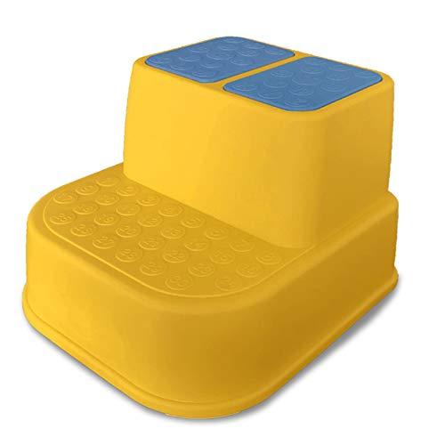 FDQNDXF Taburete ergonómico para niños de Doble Altura y 2 escalones, Taburete de plástico Moldeado con agarraderas Suaves Antideslizantes y Almohadillas Antideslizantes de Seguridad,Amarillo