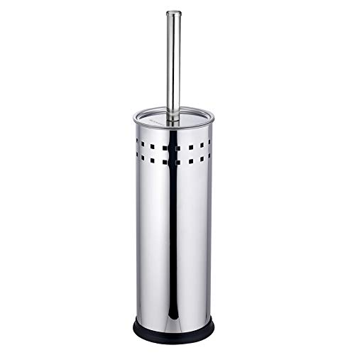 Wangel WC-Bürste & Halter, Stand Garnitur WC-Bürstenhalter mit Spritzschutz, WC-Bürste mit auswechselbarem, Edelstahl, Glänzend