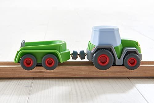 HABA 305562 - Kullerbü – Traktor mit Anhänger, Kugelbahnzubehör ab 2 Jahren