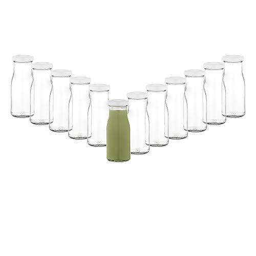 MamboCat 12er Set Saftflaschen 156ml + Twist-Off Deckel TO43 weiß I Leere Flaschen zum Befüllen I Weithalsflasche zum Einkochen I Einmachflaschen Milchflaschen I Runde Glasflaschen luftdicht