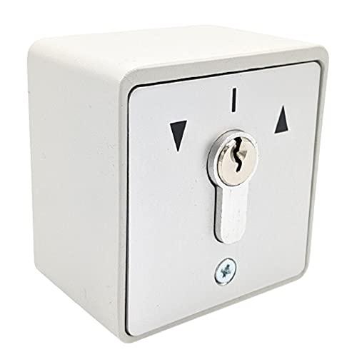 geba MSC-APZ 1-2T/1 - Interruttore a chiave da parete in alluminio con profilo a metà cilindro DIN 2 pulsanti 3 chiavi antitrupo grigio chiaro IP54 porta garage porta porta porta cancello