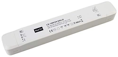 HuaTec DALI-2 - Transformador LED (24 V, 150 W, regulable, sin parpadeos, para tiras de LED, voltaje constante, fuente de alimentación LED controlador)