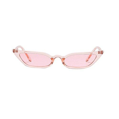 Lenfesh Frauen Vintage Katzenaugen-Sonnenbrille Retro kleine Rahmen UV400 Brillen Mode Damen (Rosa)