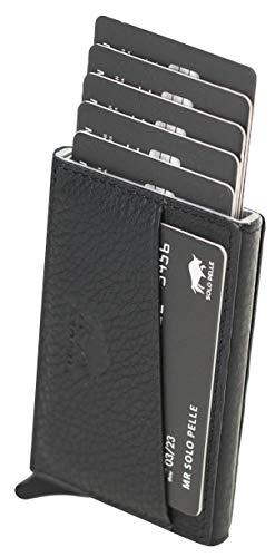 Solo Pelle Kartenetui mit RFID Schutz bis 11 Karten Portmonee Geldbeutel Kreditkartenetui für den Alltag Mech Echtes Leder in Schwarz