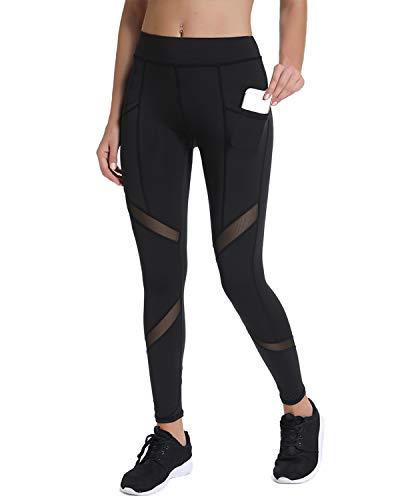 Joyshaper High Waisted Workout Leggings for Women with Pockets Mesh Capri Yoga Pants Gym Athletic Tights Black