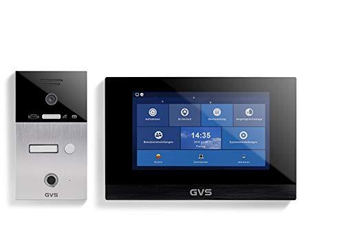 GVS IP Video Türsprechanlage, Unterputz-Türstation IP65 mit RFID und Fingerprint, 1x 10 Zoll Monitor, App, HD-Kamera 156°, Türöffner-Fkt, 32GB Speicher, PoE-Switch, 1 Familienhaus Set, AVS5063U