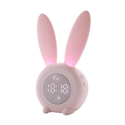 OMJNH Reloj Despertador, Reloj de Alarma temporizada USB de Carga de la lámpara de cabecera luz de la Noche de inducción, Adecuada para el Estudio, Oficina, Dormitorio, Sala de Estar (Rosa)