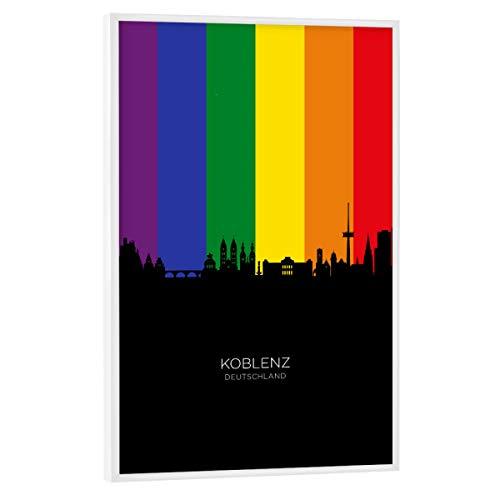 artboxONE Poster mit weißem Rahmen 75x50 cm Städte Koblenz Germany Skyline Pride - Bild Koblenz City Cityscape