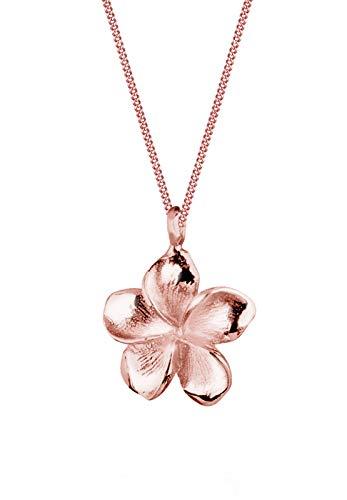 Elli Halskette Damen Frangipani Blüte Sommer Urlaub in 925 Sterling Silber