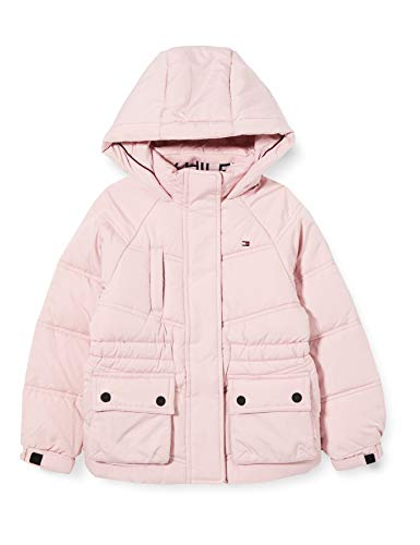 Tommy Hilfiger Mädchen Waisted Sporty Puffer Jacke, Romantic Pink, 4