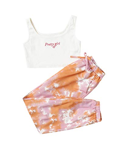 SOLY HUX Girl's 2 Piece Outfits Letter Crop Tank Top and Tie Dye Pants Set Multicoloured 10Y