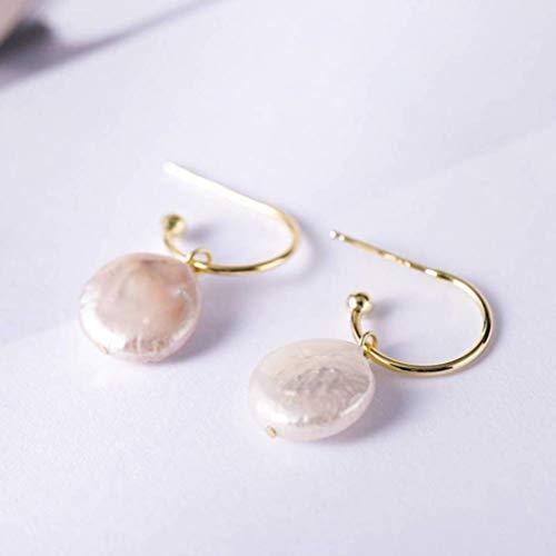 LOt Pendiente de Gota para Mujer Pendientes de Perlas Naturales de Plata S925 para Mujer Pendientes Artesanales Chapados en Oro de Diseño Elegante Y Simpleoro, Plata 925