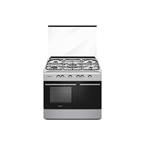 Taurus CIG5FIXM - Cocina de gas butano independiente, acero inoxidable, 5 quemadores, horno con quemador inferior de 70L, compartimiento para bombona, tapa de cristal, 60x90x88cm, 10500W